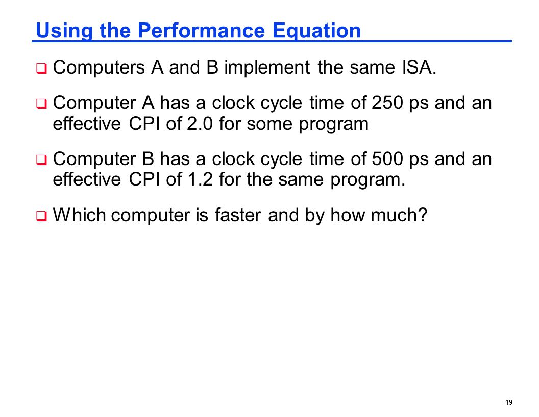 Using the Performance Equation