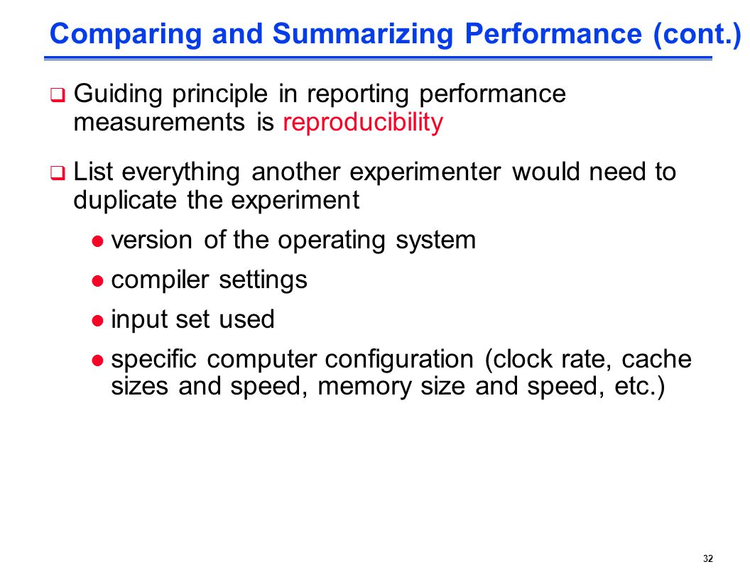 Comparing and Summarizing Performance (cont.)