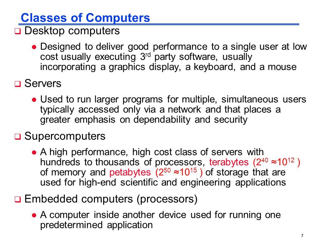Classes of Computers Desktop computers Servers Supercomputers