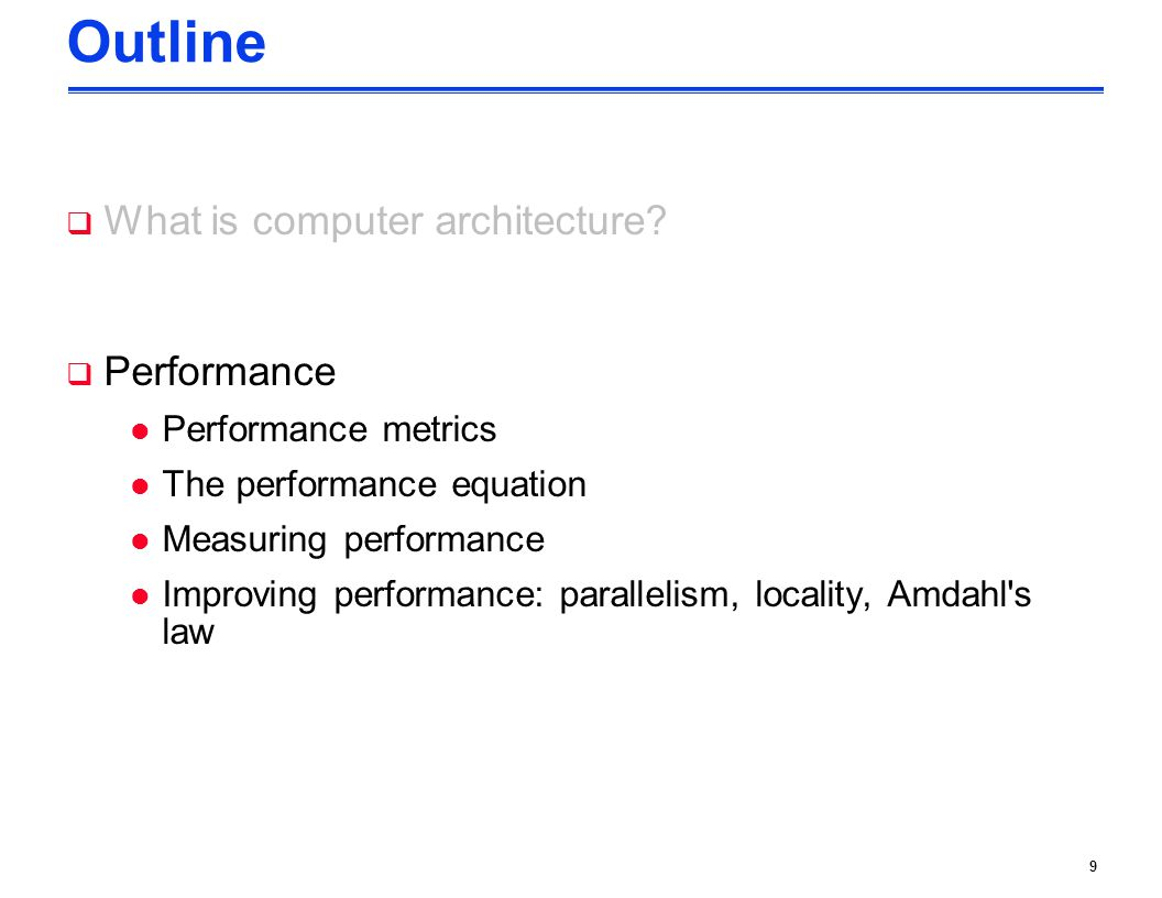 Outline What is computer architecture Performance Performance metrics