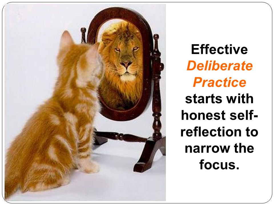 Effective Deliberate Practice starts with honest self- reflection to narrow the focus.