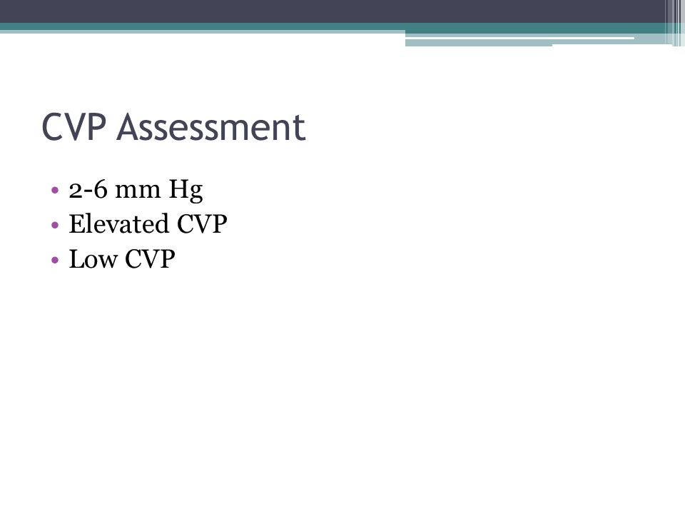 CVP Assessment 2-6 mm Hg Elevated CVP Low CVP