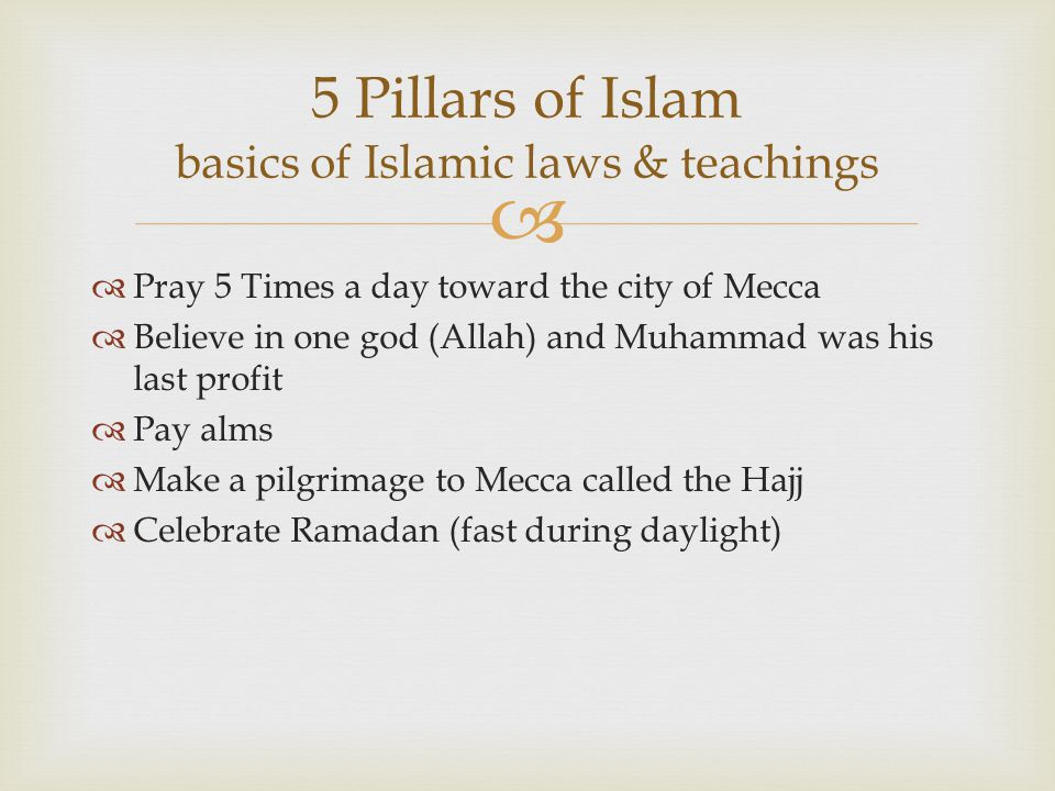 5 Pillars of Islam basics of Islamic laws & teachings