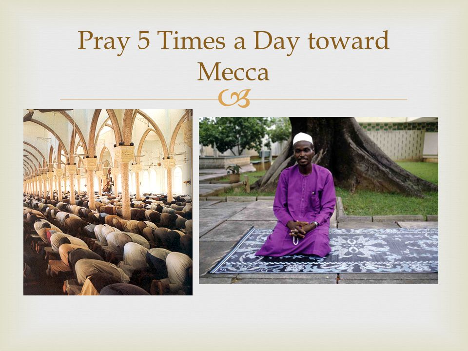 Pray 5 Times a Day toward Mecca