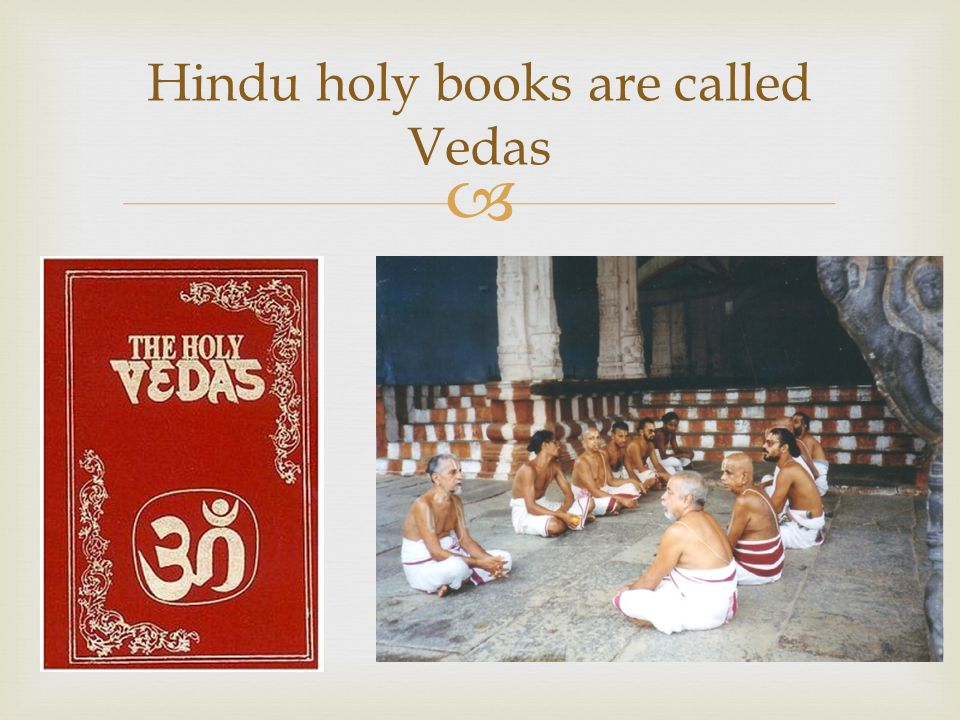 Hindu holy books are called Vedas