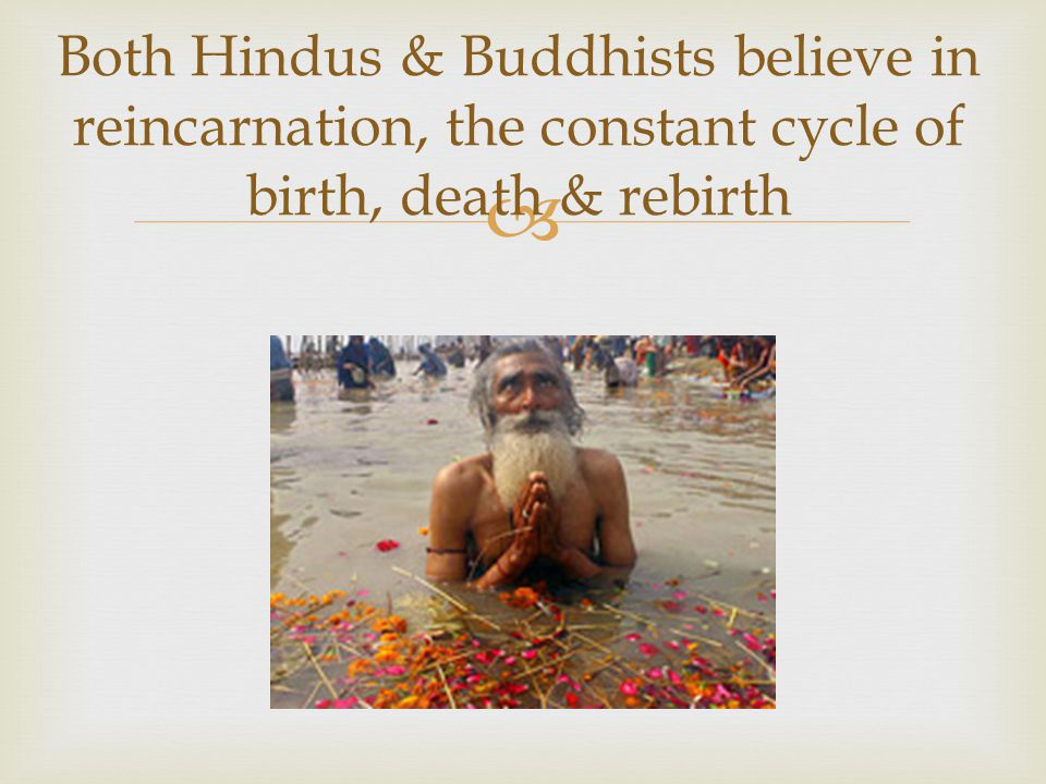 Both Hindus & Buddhists believe in reincarnation, the constant cycle of birth, death & rebirth