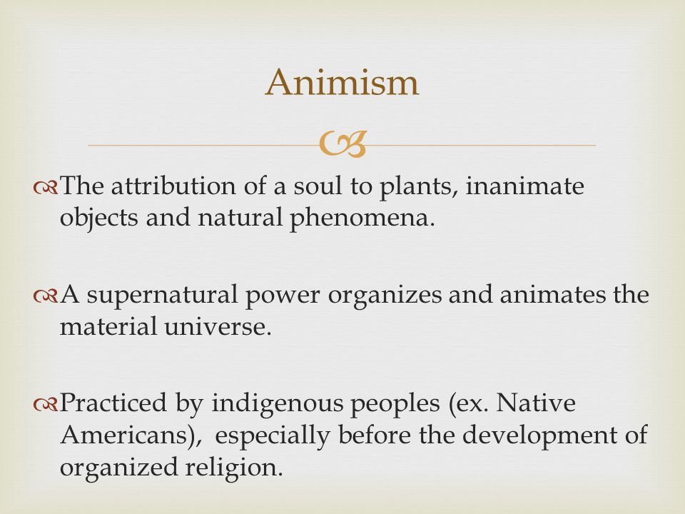 Animism The attribution of a soul to plants, inanimate objects and natural phenomena.