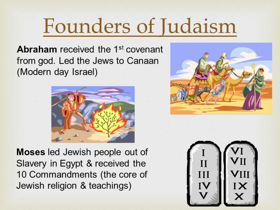 Founders of Judaism Abraham received the 1st covenant from god. Led the Jews to Canaan (Modern day Israel)