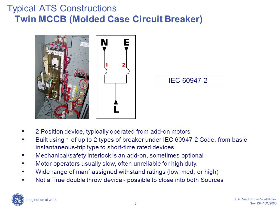 Typical ATS Constructions Twin MCCB (Molded Case Circuit Breaker)