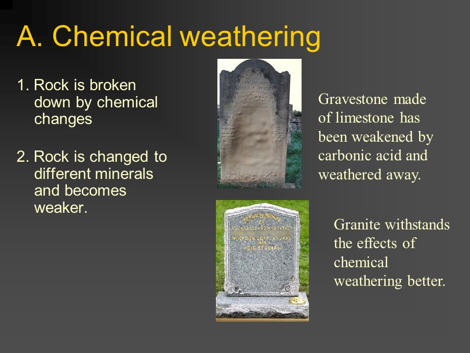 A. Chemical weathering 1. Rock is broken down by chemical changes