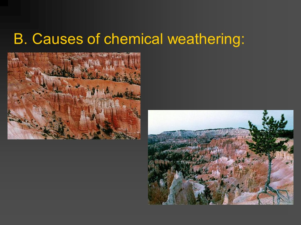 B. Causes of chemical weathering:
