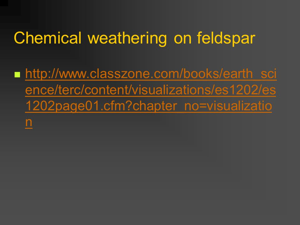 Chemical weathering on feldspar