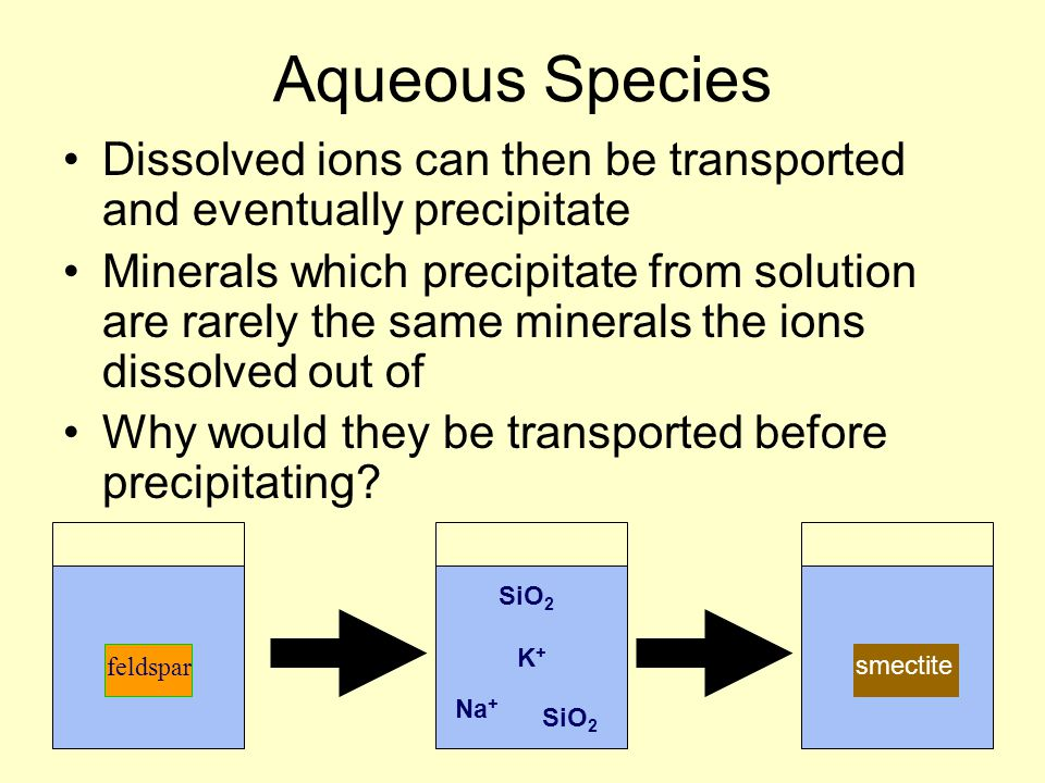 Aqueous Species Dissolved ions can then be transported and eventually precipitate.