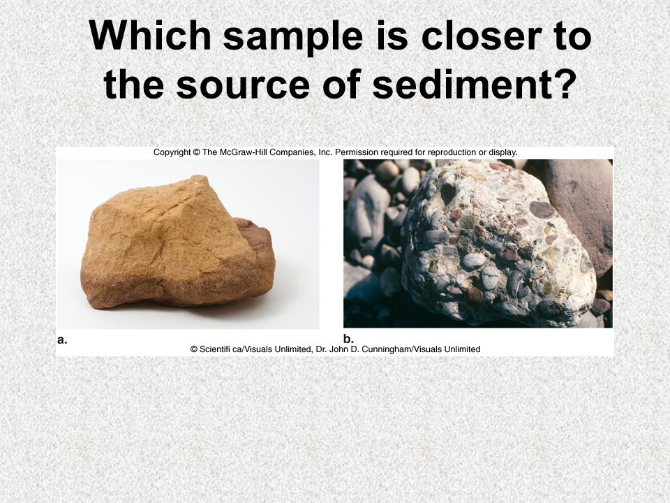 Which sample is closer to the source of sediment