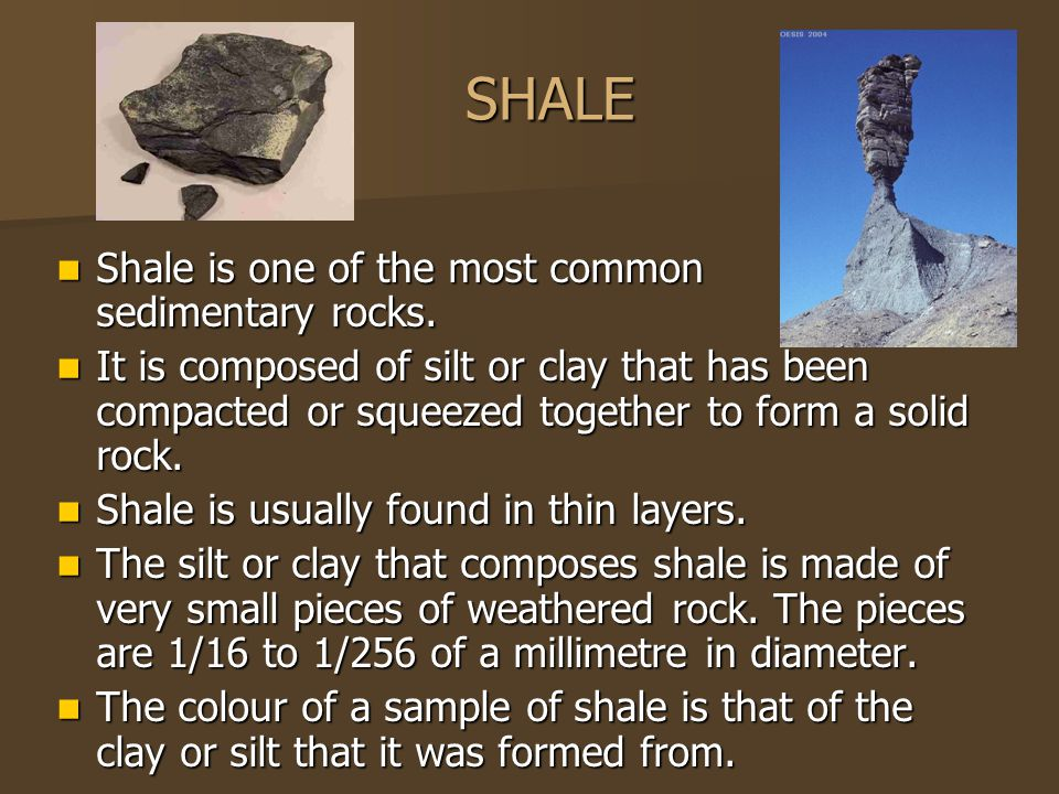 SHALE Shale is one of the most common sedimentary rocks.