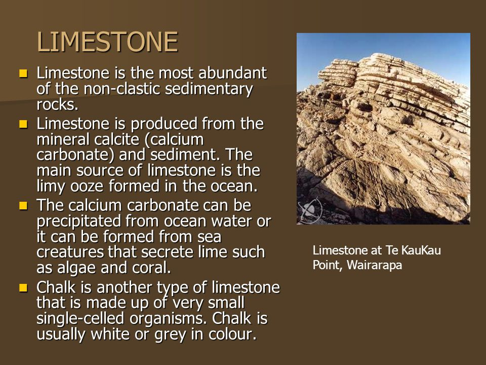 LIMESTONE Limestone is the most abundant of the non-clastic sedimentary rocks.