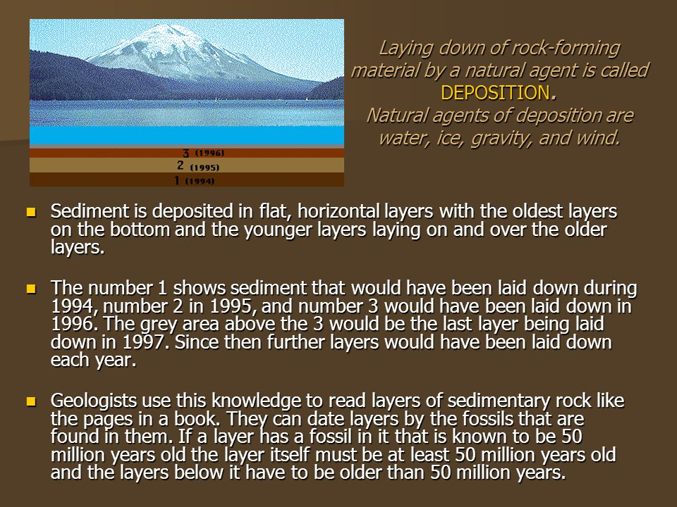 Laying down of rock-forming material by a natural agent is called DEPOSITION. Natural agents of deposition are water, ice, gravity, and wind.
