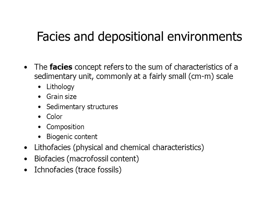 Facies and depositional environments
