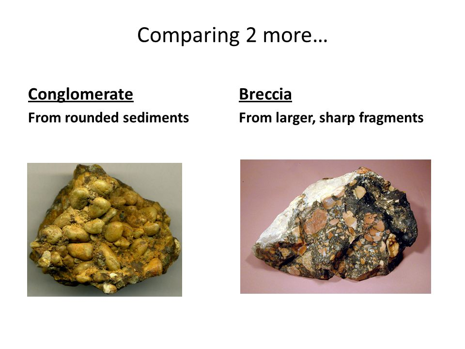 Comparing 2 more… Conglomerate Breccia From rounded sediments