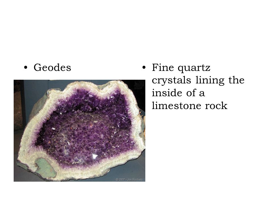 Geodes Fine quartz crystals lining the inside of a limestone rock