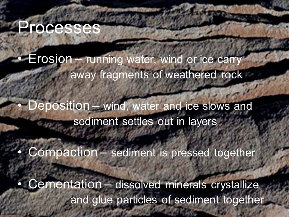 Processes Erosion – running water, wind or ice carry
