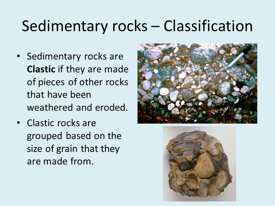 Sedimentary rocks – Classification