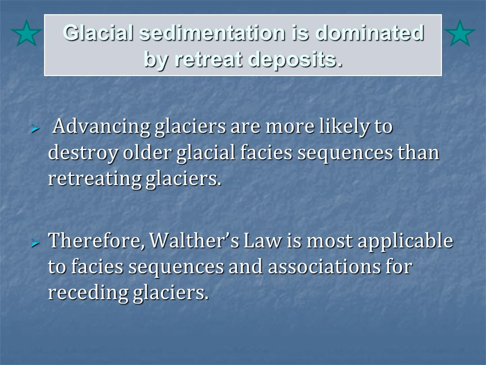 Glacial sedimentation is dominated by retreat deposits.