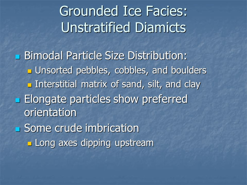 Grounded Ice Facies: Unstratified Diamicts
