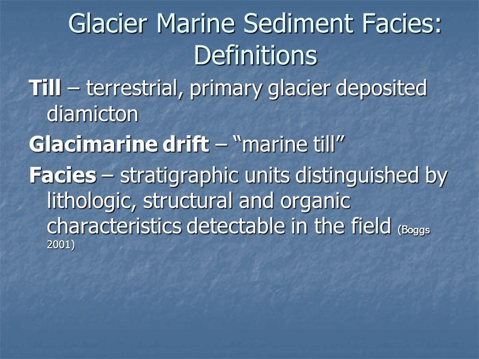 Glacier Marine Sediment Facies: Definitions