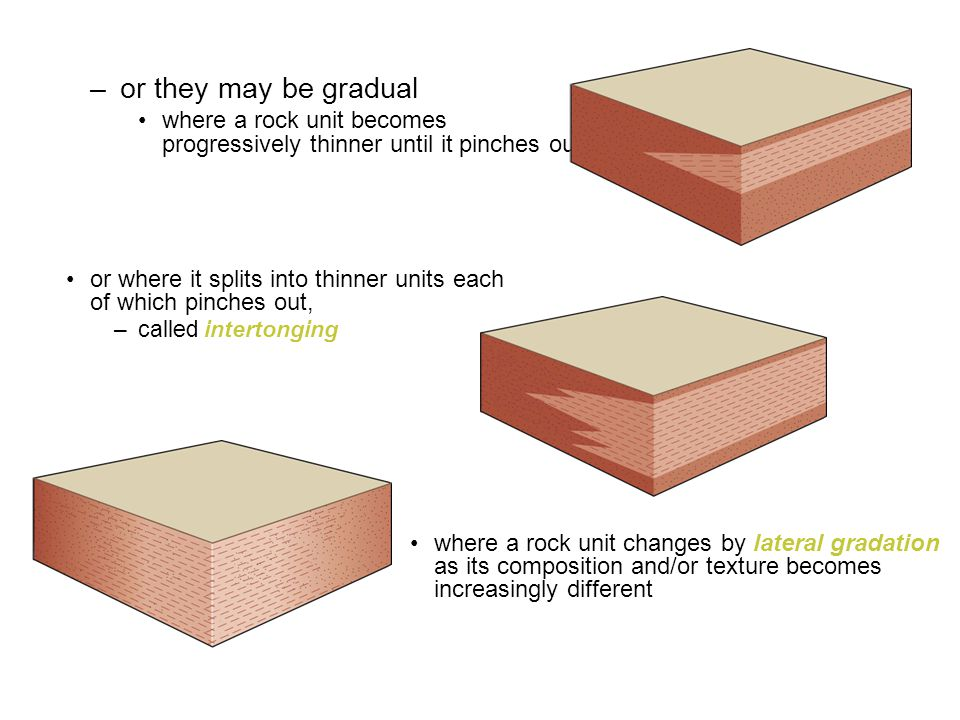 or they may be gradual where a rock unit becomes progressively thinner until it pinches out.