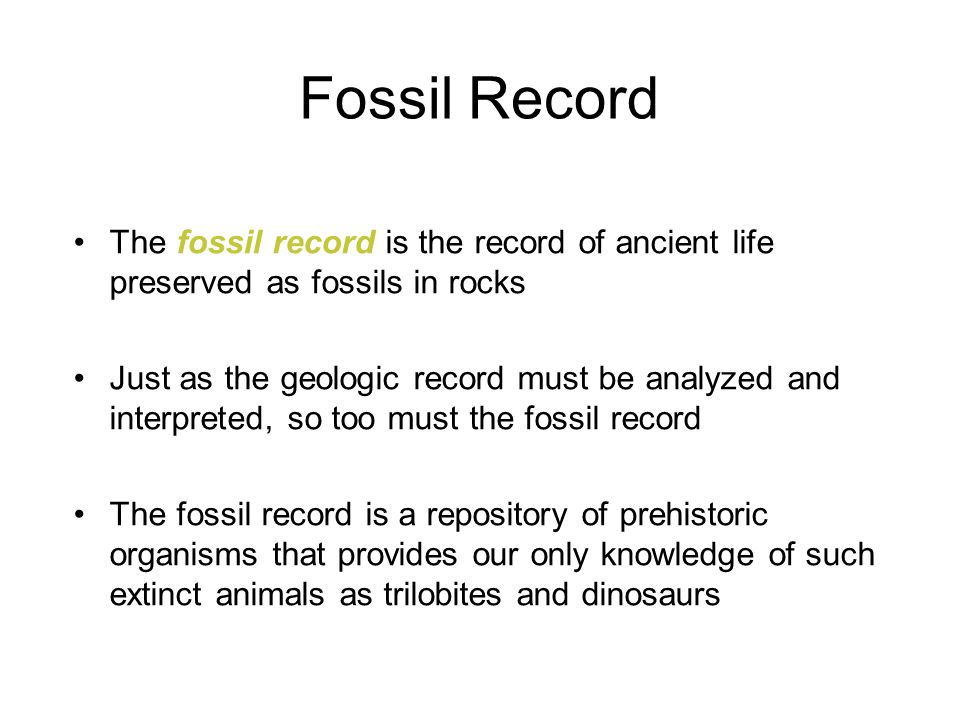Fossil Record The fossil record is the record of ancient life preserved as fossils in rocks.