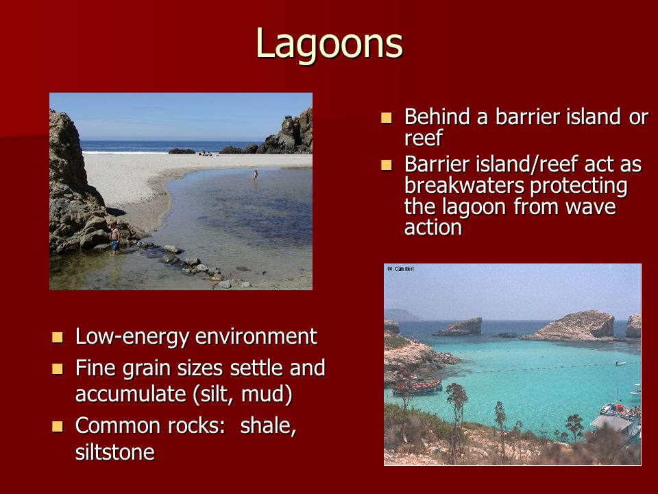 Lagoons Behind a barrier island or reef