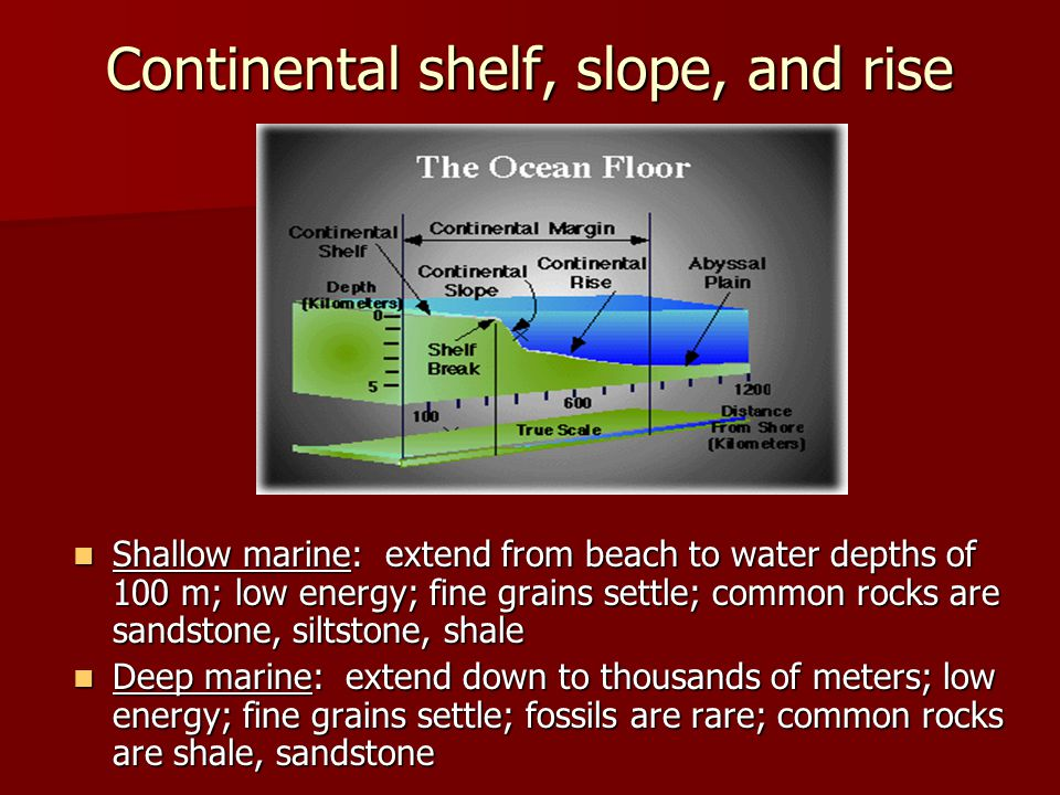 Continental shelf, slope, and rise