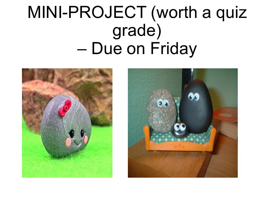 MINI-PROJECT (worth a quiz grade) – Due on Friday