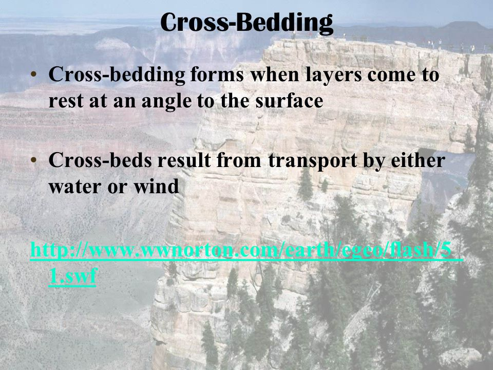 Cross-Bedding Cross-bedding forms when layers come to rest at an angle to the surface. Cross-beds result from transport by either water or wind.