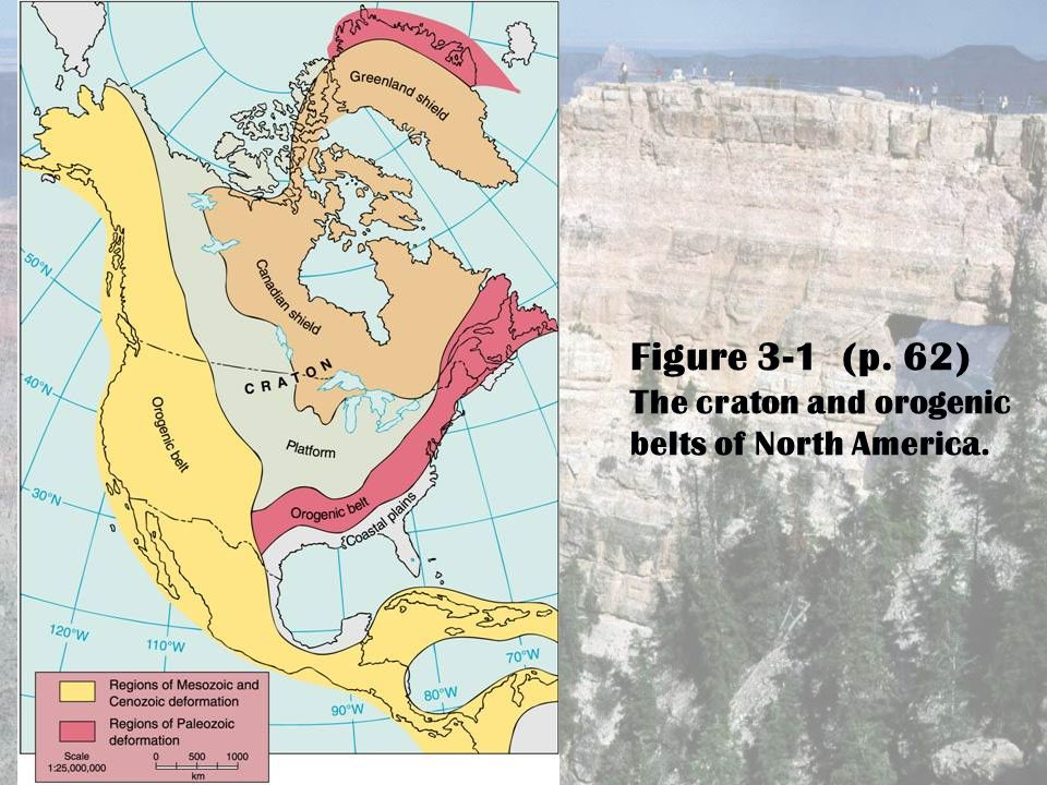 Figure 3-1 (p. 62) The craton and orogenic belts of North America.