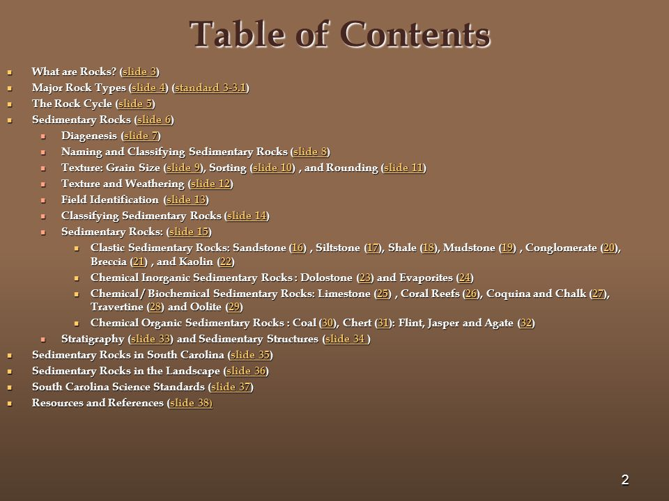 Table of Contents What are Rocks (slide 3)