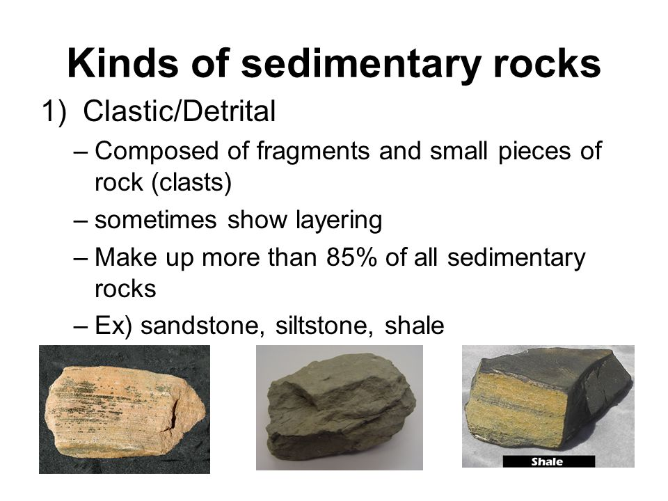 Kinds of sedimentary rocks
