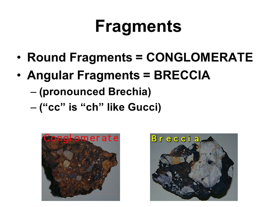 Fragments Round Fragments = CONGLOMERATE Angular Fragments = BRECCIA