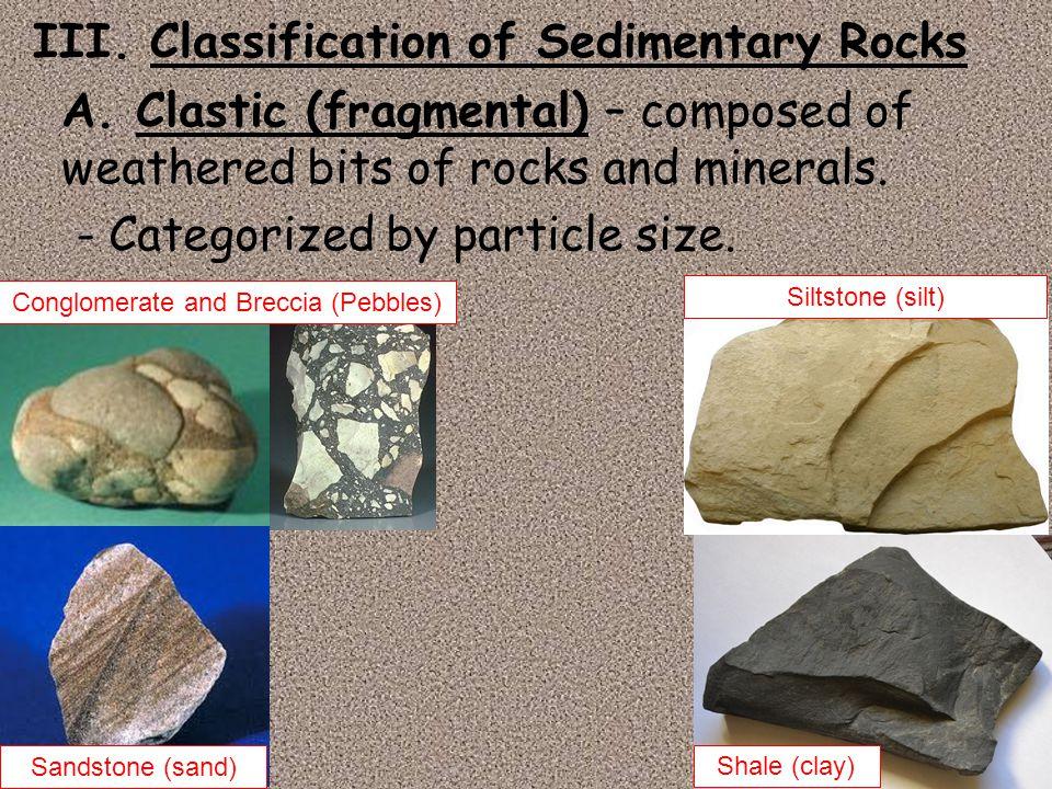III. Classification of Sedimentary Rocks