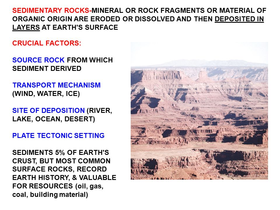 SEDIMENTARY ROCKS-MINERAL OR ROCK FRAGMENTS OR MATERIAL OF ORGANIC ORIGIN ARE ERODED OR DISSOLVED AND THEN DEPOSITED IN LAYERS AT EARTH S SURFACE