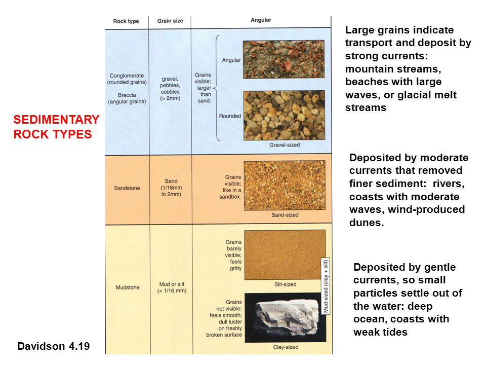 SEDIMENTARY ROCK TYPES