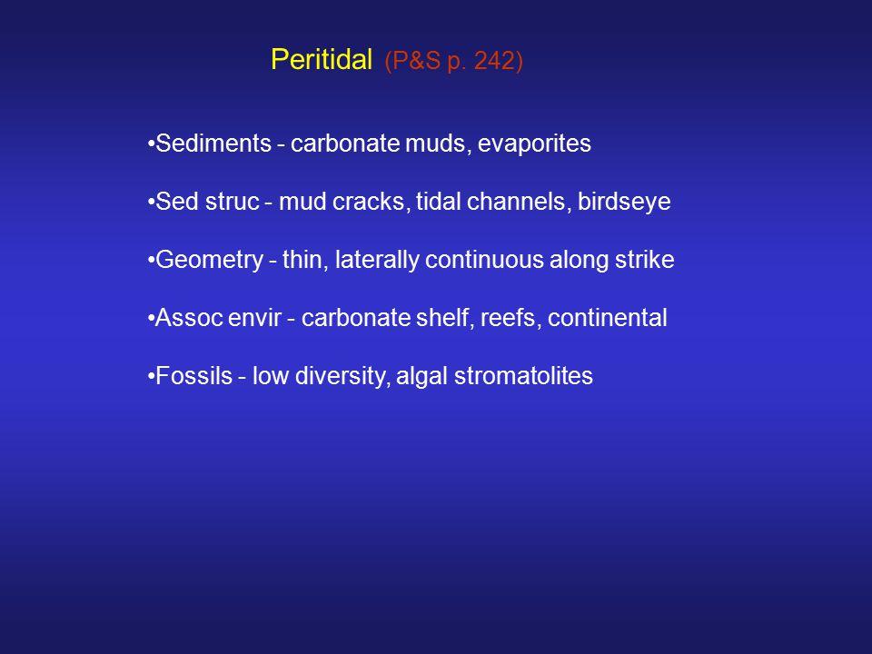 Peritidal (P&S p. 242) Sediments - carbonate muds, evaporites