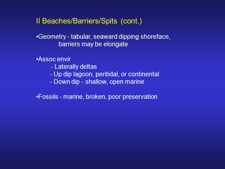 II Beaches/Barriers/Spits (cont.)