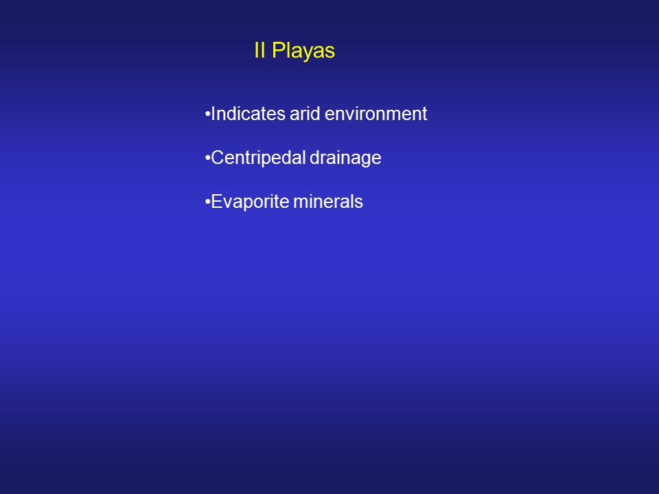 II Playas Indicates arid environment Centripedal drainage