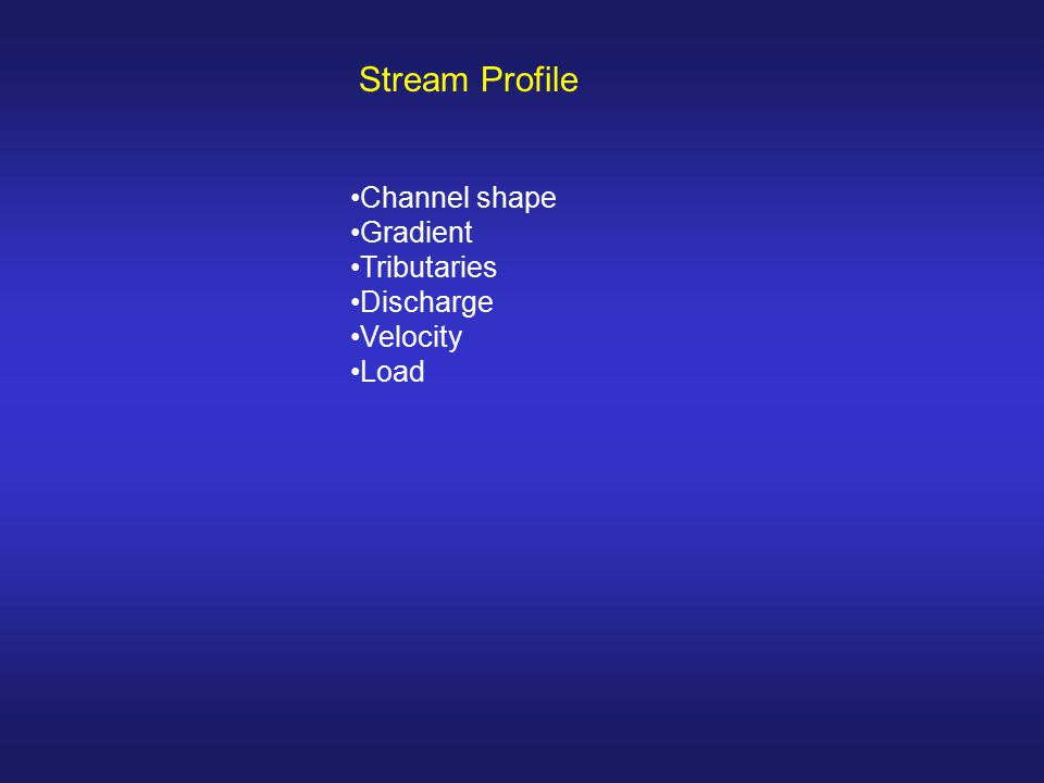 Stream Profile Channel shape Gradient Tributaries Discharge Velocity