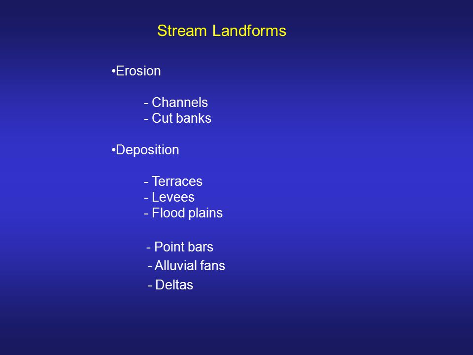 Stream Landforms - Point bars Erosion - Channels - Cut banks