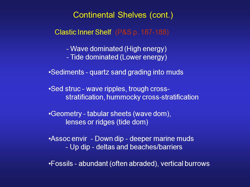 Continental Shelves (cont.)