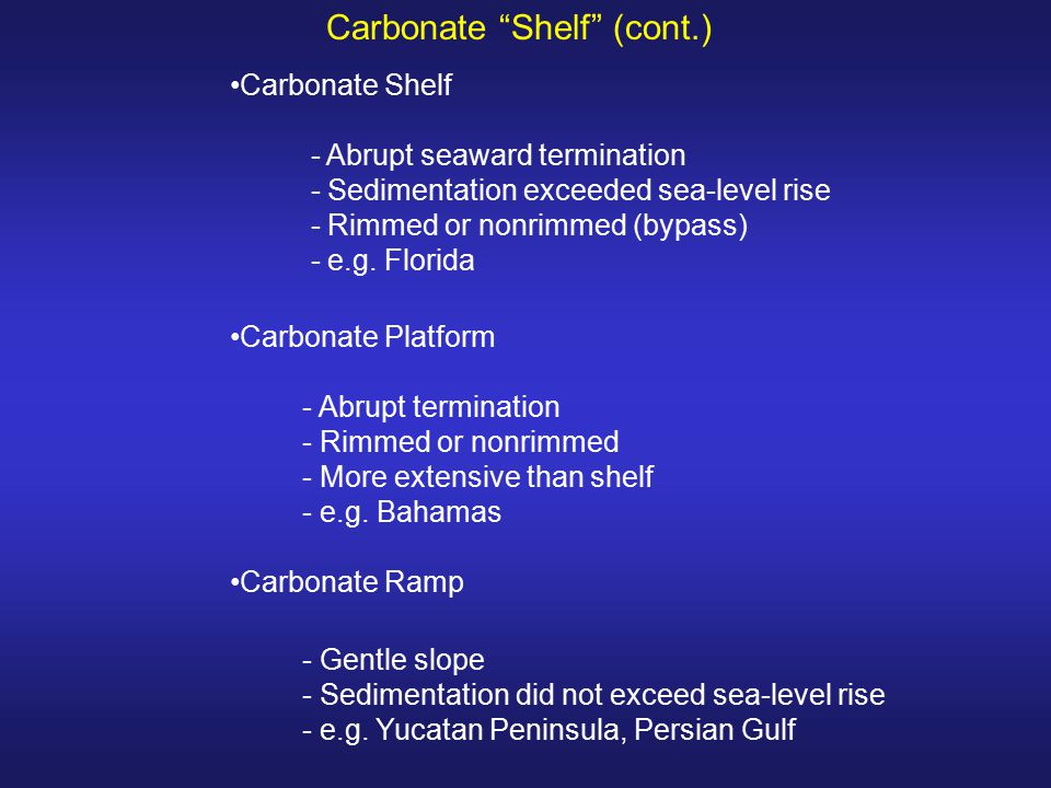 Carbonate Shelf (cont.)