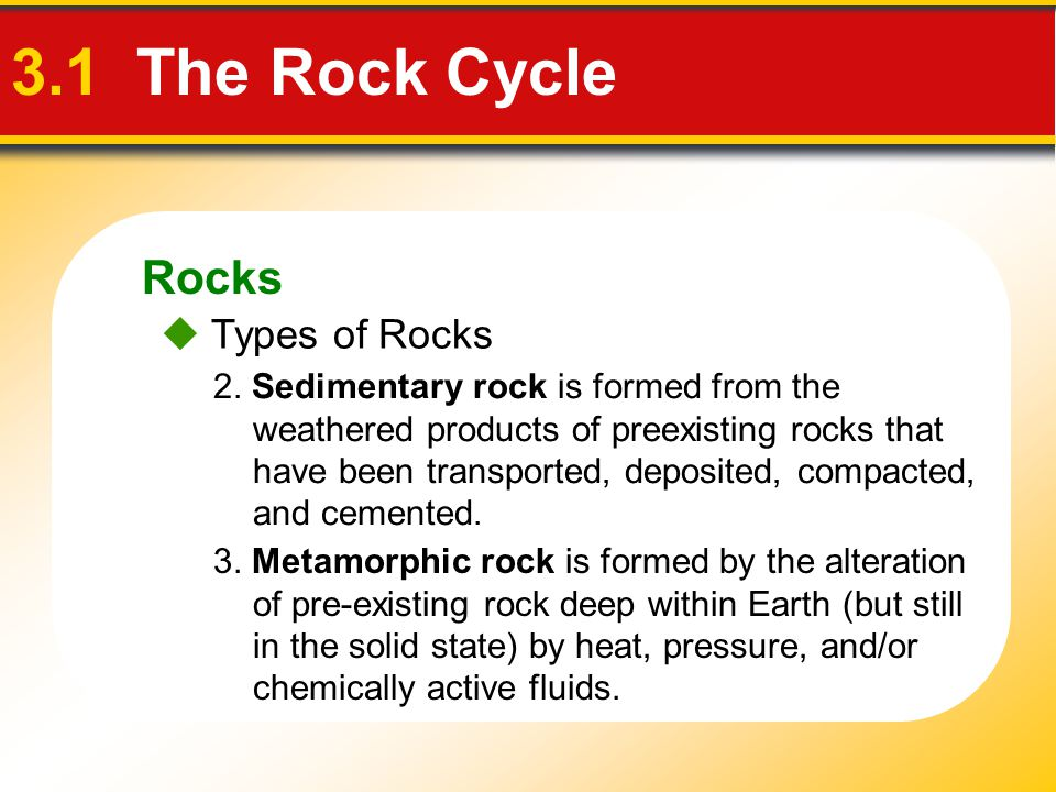3.1 The Rock Cycle Rocks  Types of Rocks